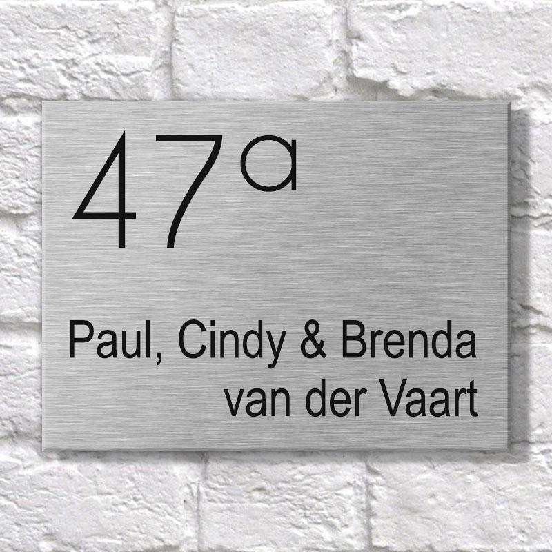 RVS Naambordje voordeur - 20x15cm